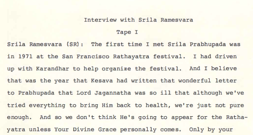 Ramesvara interview